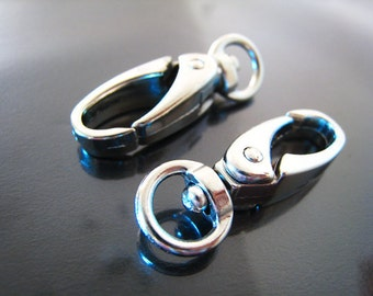 Finding - 2 pcs Silver Large Solid Swivel Lobster Claw Large Clasp Closure Buckle 37mm x 11m