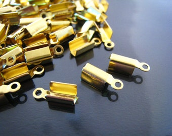 Finding - 20 pcs Gold Plated Smooth Finish Leathers Crimps Tone Fold Over Cord Ends For Leather With Ring Jump ( 12mm x 4mm )