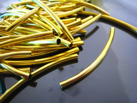 Finding - 10 pcs Gold Brass Curve  Arc Tubes 50mm x 3mm ( Fit for 2mm Round Leather )