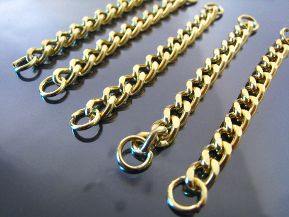 Gold Chain - 4pcs Finding Metal Gold Chains Link Bracelet with Open Jump Ring - Charm Bracelet Base