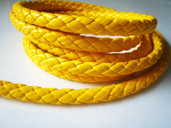 1 Yard  of 7mm Yellow Round Braided Leather  Cord
