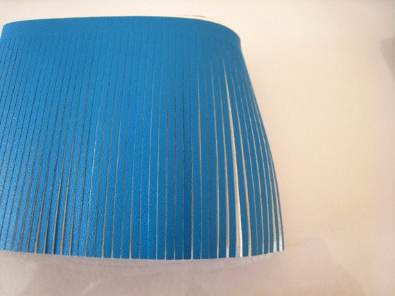 18 inches of Sky Blue Leather Piece Fringe for Making Tassel and Craft ( Length 80mm )