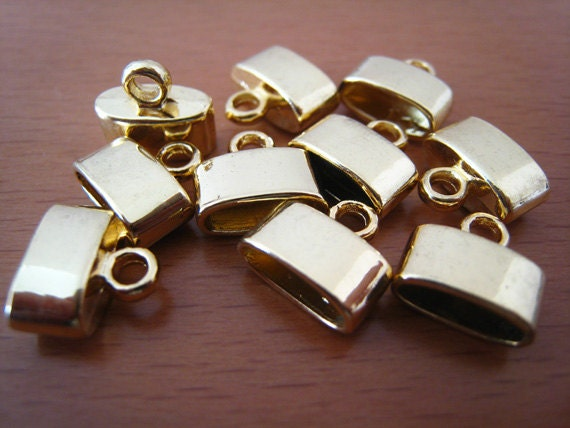 Finding - 20 pcs Gold Leather Cord Ends Cap with Loop For Round Leathers 10mm x 11mm ( inside 9.5mm width )