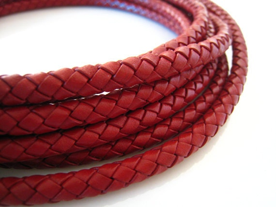 Leather Cord 6mm - Bull Red Round Braided Bolo Genuine Leather Cord ( Hole Inside )