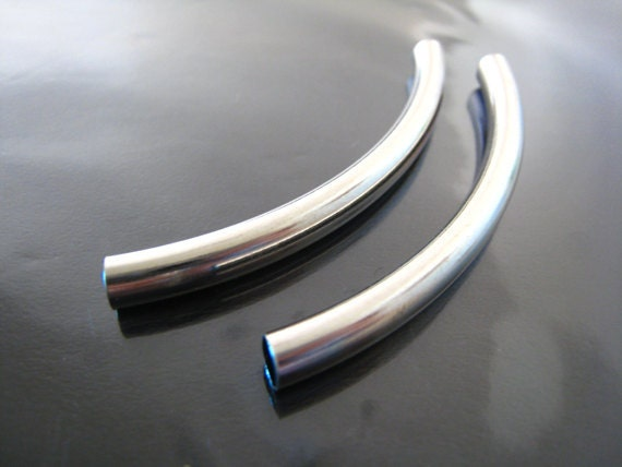 Finding - 2 pcs Silver Brass Very Long Curve Arc Tubes 70mm x 5mm ( Fit for 4mm Round Leather )