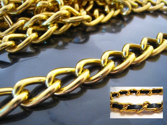 Finding - 1 Yard of Gold Large Chain Fashion Curb Link for making Jewelry Bracelet and Necklace Craft (17mm x 11mm width each Oval )