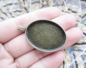 10pc 38.5x24.2mm antiqued bronze cabochon/cameo oval base setting pendants