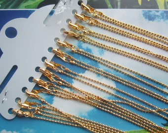 12pc 16inch gold plated 1.5mm shiny round ball chain necklace