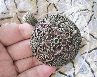 5pc 46mm antiqued bronze fillligree flower crystal setting pendants