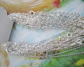 12pc 16 inch silver plated shiny  tube ball chain necklace