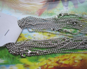 12pc 18 inch white k plated 2mm round ball chain necklace---very strong