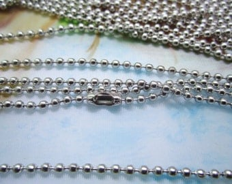 12pc 16 inch white k plated 2mm round ball chain necklace---very strong