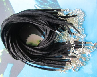 25 pieces 16-18 inch black Suede leather necklace cords including silver plated lobster clasps and extention chains