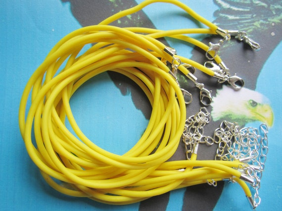 Promotion Sale--25 pieces 16-18 inch yellow rubber necklace cords including silver plated lobster clasps and extention chains