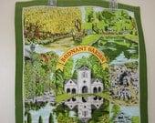 Vintage Tea Towel of Bodnant Garden North Wales, Nr. Colwyn Bay by Sally Jayne Textiles