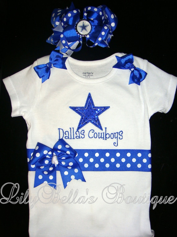 baby girl monogrammed onesie and hair bow dallas cowboys