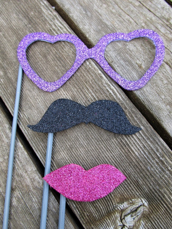 Sparkle And Shine Glitter Photobooth Party Props- 3 Piece Set