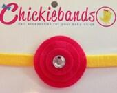 Hot Pink and Yellow Chickieband Children Toddler Baby Headband