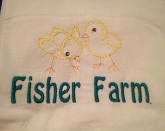 Personalized embroidered flour sack towel