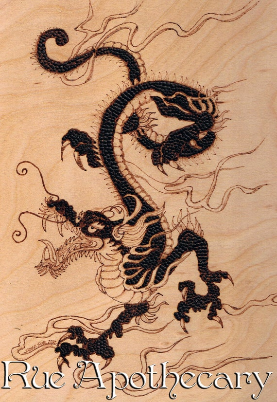 Chinese Dragon Pyrography Wood Burning Japanese Wall Plaque