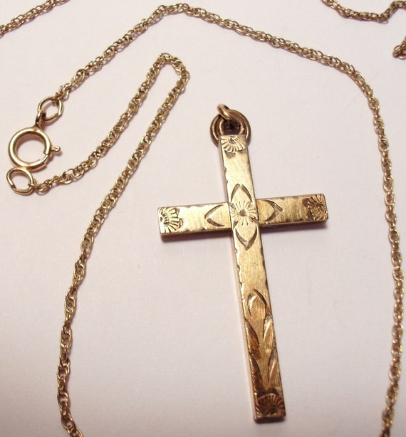 Vintage Cross Etched 12k Gold Filled with a 14k Gold Filled 18 inch Chain Signed with a Sun Symbol