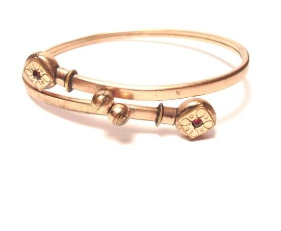 Antique Rose Gold Victorian Jeweled Etched Wedding Bracelet Childs Bracelet