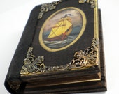 Ocean art, leather journal, hand painted ship, personalized book, personalized journal, reclaimed wood art, blank notebook nautical notebook