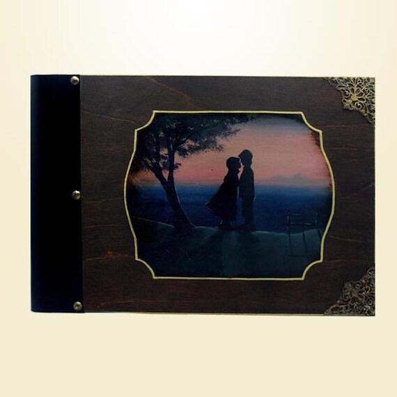 Children's photo album, handmade - hand painted customisable personalised vintage album - Little couple, wooden cover