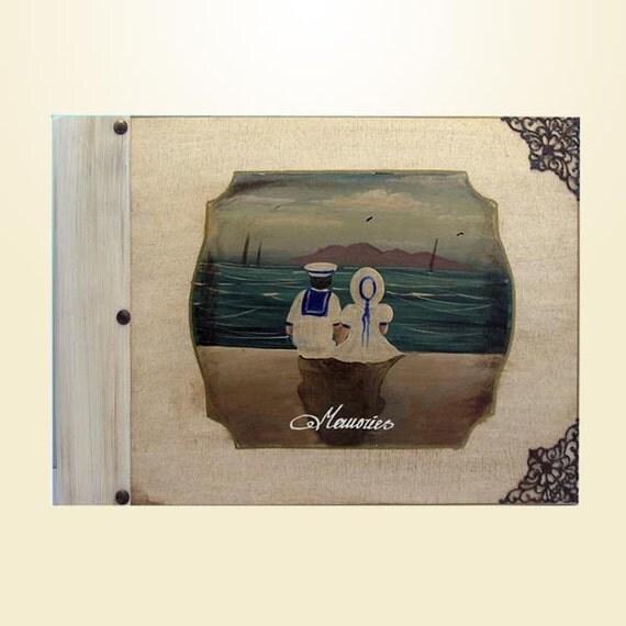 Handpainted wooden cover children's Photo Album - Little Sailors