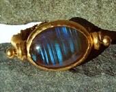 22k  Labradorite gold rope ring