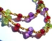 22k solid gold necklace, Peridot, Carnelian/Cornelian, Amethyst.
