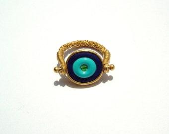 Mati ring 22k gold, lapis lazuli, turquoise, emerald.