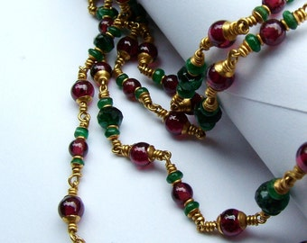 22k gold emerald garnet necklace...