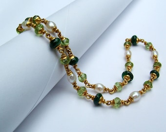 22k gold emerald peridot fresh water pearl necklace...