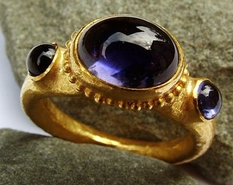 Custom order to size....Iolite (Water sapphire) 22k gold ring...Three stone ring.