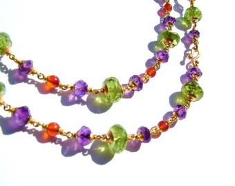 22K solid gold necklace, Peridot, Amethyst, Carnelian/Cornelian.