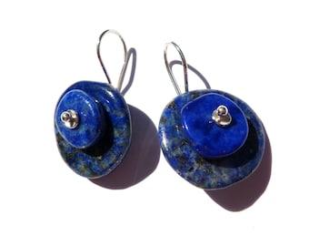 Lapis lazuli, sterling silver earrings. .............n7