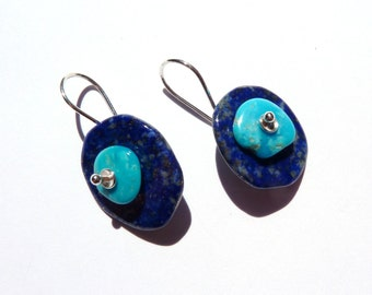 Lapis lazuli, Sleeping beauty natural Turquoise, sterling silver earrings....n4