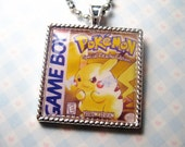 Pokemon Yellow Pikachu GameBoy Video Game Cameo Pendant Charm Necklace