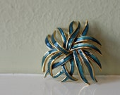 Monet Brooch - Blue and Gold Sea Anemone - VIntage