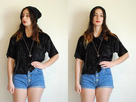 Velvet Noir Button Up Blouse