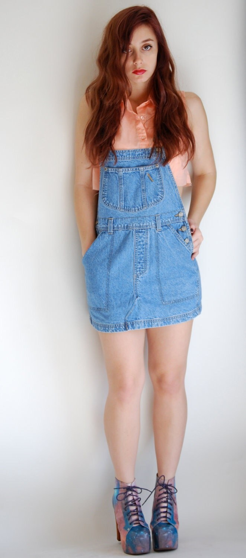 Vintage 90u0026#39;s DENIM OVERALLS Skirt
