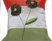 Tri-Color Satin Flower Pillow