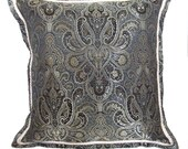 Black & Gray Brocade Pillow