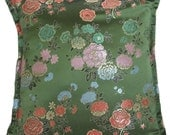 Green Floral Brocade Pillow