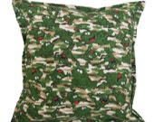 SALE! -- Flannel Frog Pillow Cover