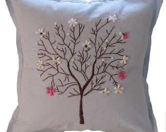 Blue Hand Embroidered Tree Pillow