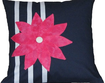 Navy Flower Pillow