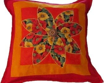 Orange Appliqued Flower Pillow