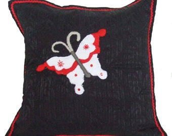 Black Accent Pillow with Butterfly